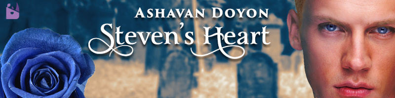 Steven's Heart blog banner. Ashavan Doyon, Steven's Heart. A blue rose, prominent, in the bottom left overlays a faded cemetery. On the right side is the image of Steven, an intense handsome young man with blond hair, red lips, and very blue eyes.